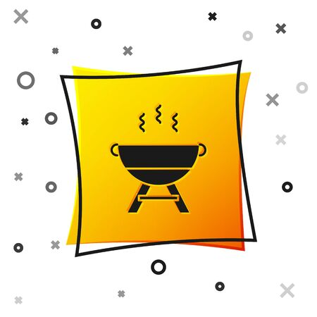 Black Barbecue grill icon isolated on white background. BBQ grill party. Yellow square button. Vector Illustration