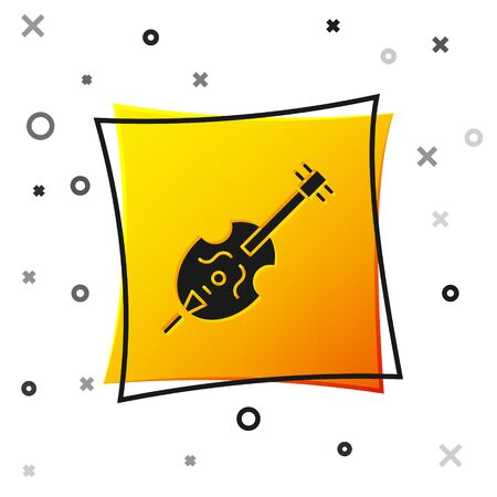 Black Violin icon isolated on white background. Musical instrument. Yellow square button. Vector Illustration