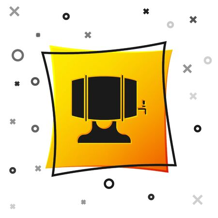 Black Wooden barrel on rack with stopcock icon isolated on white background. Yellow square button. Vector Illustration