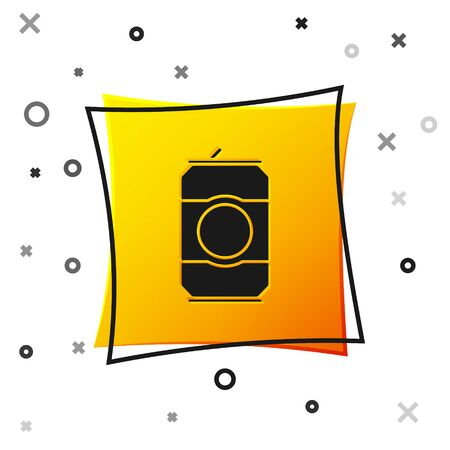 Black Beer can icon isolated on white background. Yellow square button. Vector Illustration