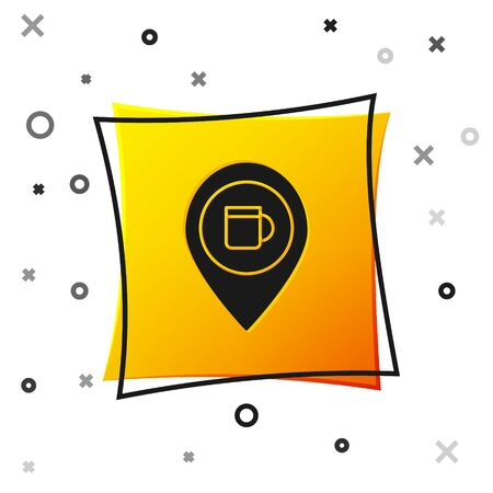 Black Alcohol or beer bar location icon isolated on white background. Symbol of drinking, pub, club, bar. Yellow square button. Vector Illustration
