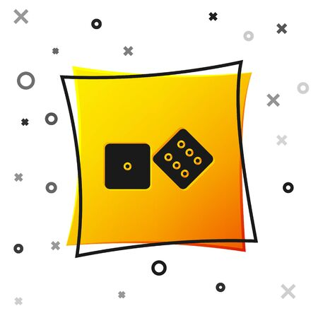 Black Game dice icon isolated on white background. Casino gambling. Yellow square button. Vector Illustration