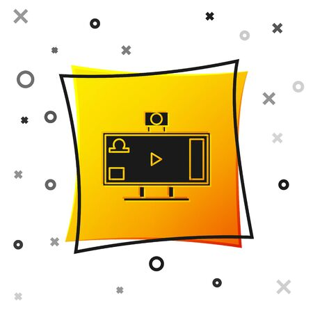 Black Live streaming online videogame play icon isolated on white background. Yellow square button. Vector Illustration