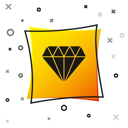 Black Diamond icon isolated on white background. Jewelry symbol. Gem stone. Yellow square button. Vector Illustration