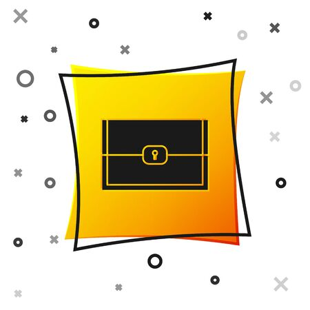 Black Chest for game icon isolated on white background. Yellow square button. Vector Illustration