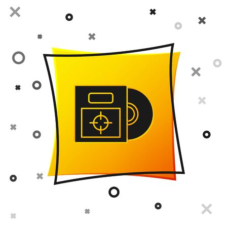 Black CD or DVD disk in box icon isolated on white background. Compact disc sign. Yellow square button. Vector Illustration Ilustracja