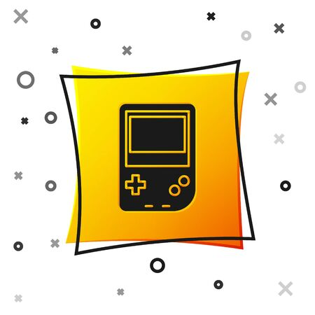 Black Portable video game console icon isolated on white background. Gamepad sign. Gaming concept. Yellow square button. Vector Illustration 矢量图像