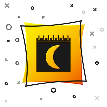 Black Moon phases calendar icon isolated on white background. Yellow square button. Vector Illustration
