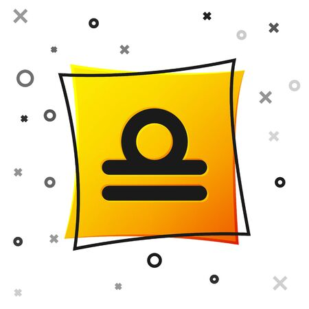 Black Libra zodiac sign icon isolated on white background. Astrological horoscope collection. Yellow square button. Vector Illustration