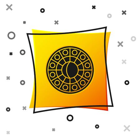 Black Astrology horoscope circle with zodiac icon isolated on white background. Yellow square button. Vector Illustration