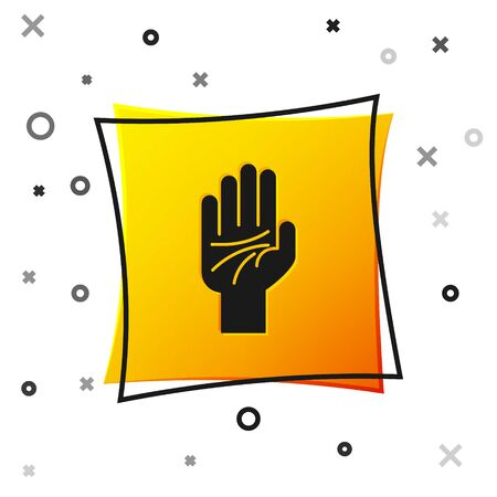 Black Palmistry of the hand icon isolated on white background. Yellow square button. Vector Illustration