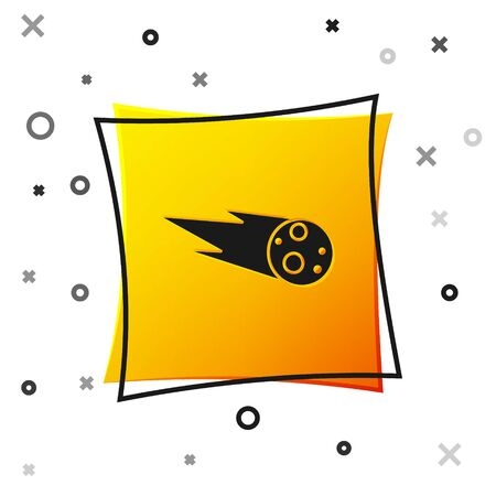Black Comet falling down fast icon isolated on white background. Yellow square button. Vector Illustration
