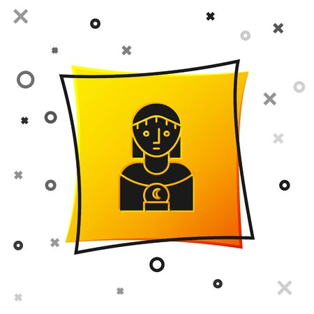 Black Astrology woman icon isolated on white background. Yellow square button. Vector Illustration