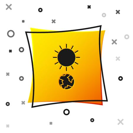 Black Solstice icon isolated on white background. Yellow square button. Vector Illustration Stock Illustratie