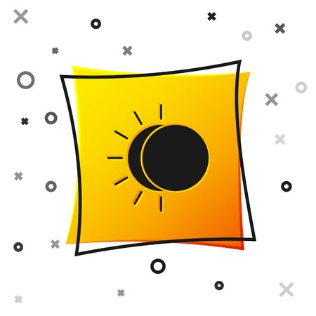 Black Eclipse of the sun icon isolated on white background. Total sonar eclipse. Yellow square button. Vector Illustration