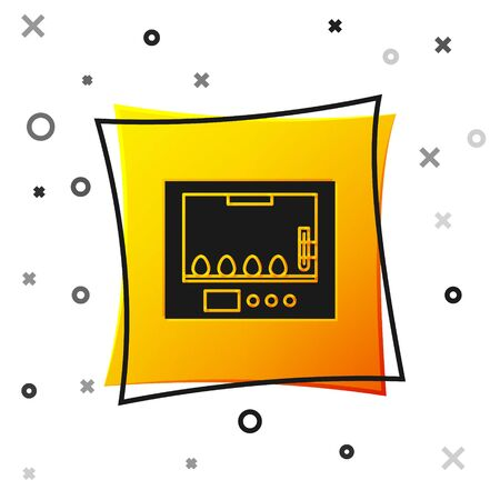 Black Incubator for eggs icon isolated on white background. Yellow square button. Vector Illustration 向量圖像