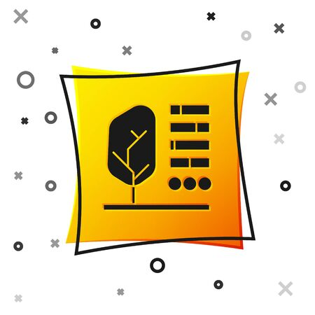 Black Plant status icon isolated on white background. Yellow square button. Vector Illustration