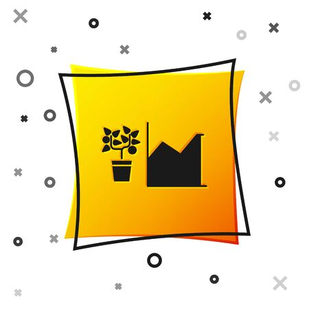 Black Flower statistics icon isolated on white background. Yellow square button. Vector Illustration