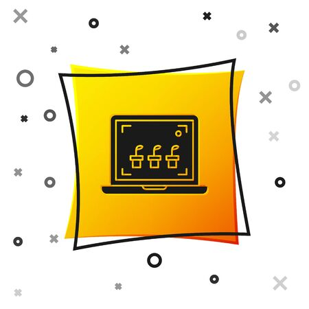Black Smart farming technology - farm automation system icon isolated on white background. Yellow square button. Vector Illustration