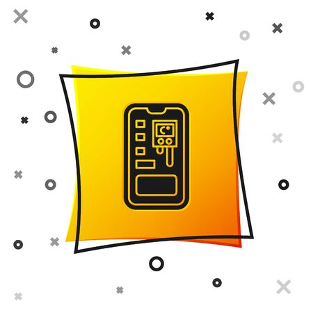 Black Smart control farming system mobile application icon isolated on white background. Yellow square button. Vector Illustration