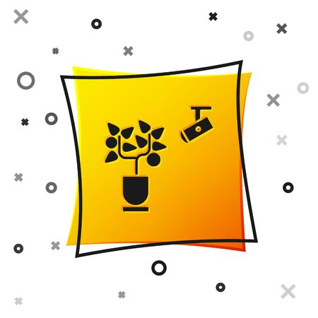 Black Smart farming technology - farm automation system in app icon isolated on white background. Yellow square button. Vector Illustration Illustration