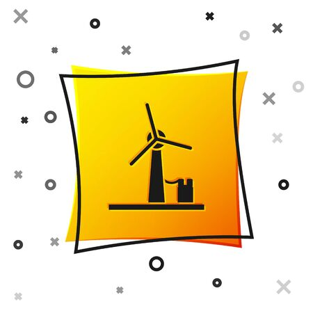 Black Wind turbine icon isolated on white background. Wind generator sign. Windmill for electric power production. Yellow square button. Vector Illustration Ilustração