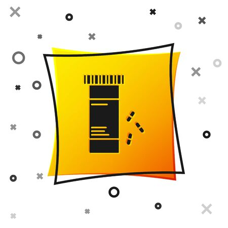 Black Medicine bottle and pills icon isolated on white background. Bottle pill sign. Pharmacy design. Yellow square button. Vector Illustration Ilustracja