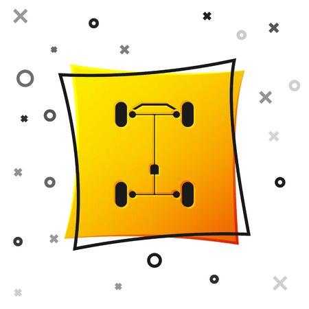 Schwarzes Chassis-Auto-Symbol isoliert auf weißem Hintergrund. Gelbe quadratische Schaltfläche. Vektorillustration Vektorgrafik