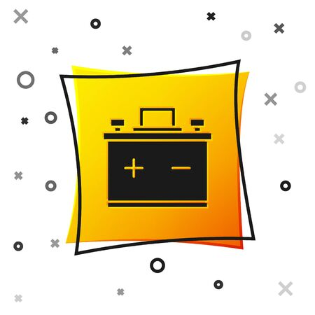 Black Car battery icon isolated on white background. Accumulator battery energy power and electricity accumulator battery. Yellow square button. Vector Illustration