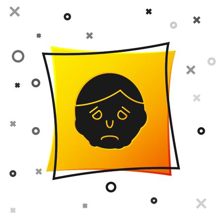Black Inflammation on face icon isolated on white background. Yellow square button. Vector Illustration Иллюстрация