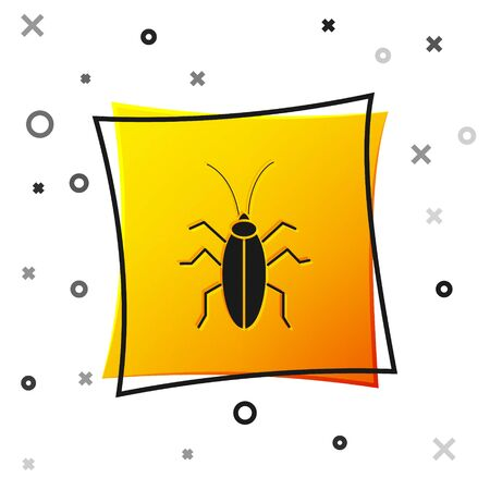 Black Cockroach icon isolated on white background. Yellow square button. Vector Illustration