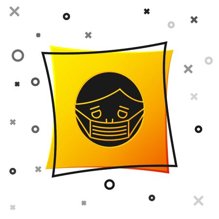 Black Man face in a medical protective mask icon isolated on white background. Quarantine. Yellow square button. Vector Illustration