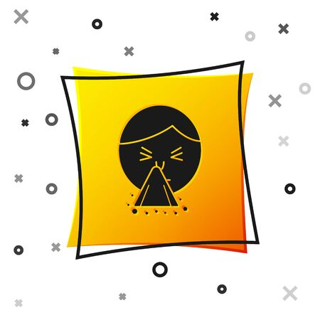 Black Man holding handkerchief or napkin to his runny nose icon isolated on white background. Coryza desease symptoms. Yellow square button. Vector Illustration