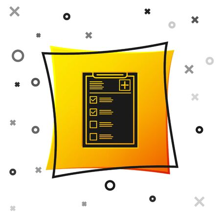 Black Medical clipboard with clinical record icon isolated on white background. Health insurance form. Prescription, medical check marks report. Yellow square button. Vector Illustration