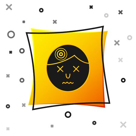 Black Man having headache, migraine icon isolated on white background. Yellow square button. Vector Illustration Ilustrace