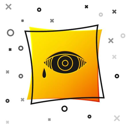 Black Reddish eye due to viral, bacterial or allergic conjunctivitis icon isolated on white background. Yellow square button. Vector Illustration Stock Illustratie