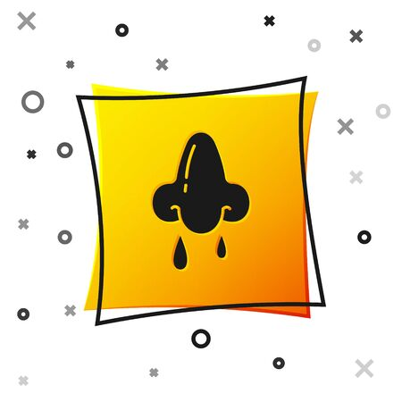 Black Runny nose icon isolated on white background. Rhinitis symptoms, treatment. Nose and sneezing. Nasal diseases. Yellow square button. Vector Illustration Ilustração