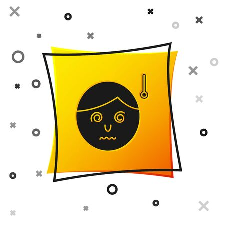 Black High human body temperature or get fever icon isolated on white background. Disease, cold, flu symptom. Yellow square button. Vector Illustration Ilustrace