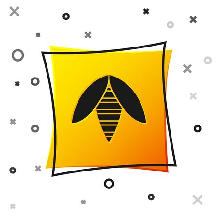 Black Bee icon isolated on white background. Sweet natural food. Honeybee or apis with wings symbol. Flying insect. Yellow square button. Vector Illustration