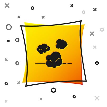 Black Dust icon isolated on white background. Yellow square button. Vector Illustration
