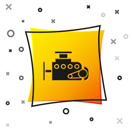 Black Car engine icon isolated on white background. Yellow square button. Vector Illustration