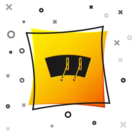 Black Windscreen wiper icon isolated on white background. Yellow square button. Vector Illustration