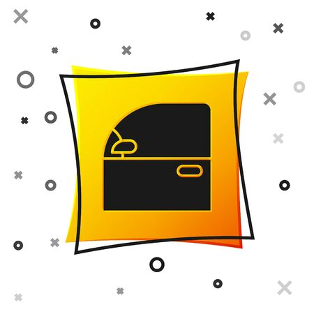 Black Car door icon isolated on white background. Yellow square button. Vector Illustration