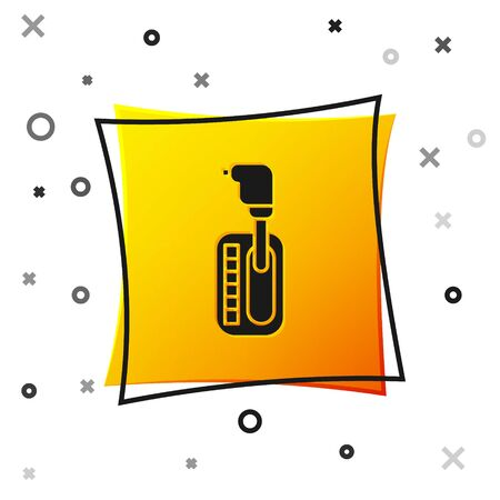 Black Gear shifter icon isolated on white background. Transmission icon. Yellow square button. Vector Illustration