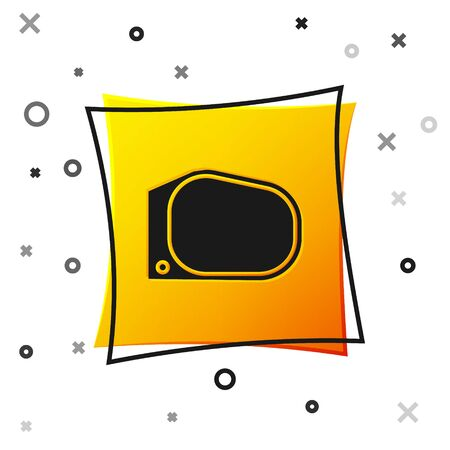 Black Car mirror icon isolated on white background. Yellow square button. Vector Illustration