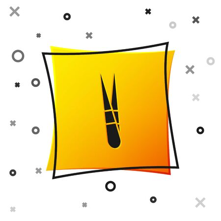 Black Eyebrow tweezers icon isolated on white background. Cosmetic tweezers for ingrown hair. Yellow square button. Vector Illustration  イラスト・ベクター素材