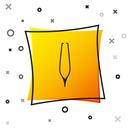 Black Eyebrow tweezers icon isolated on white background. Cosmetic tweezers for ingrown hair. Yellow square button. Vector Illustration Ilustração