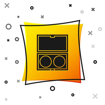 Black Makeup powder with mirror icon isolated on white background. Yellow square button. Vector Illustration
