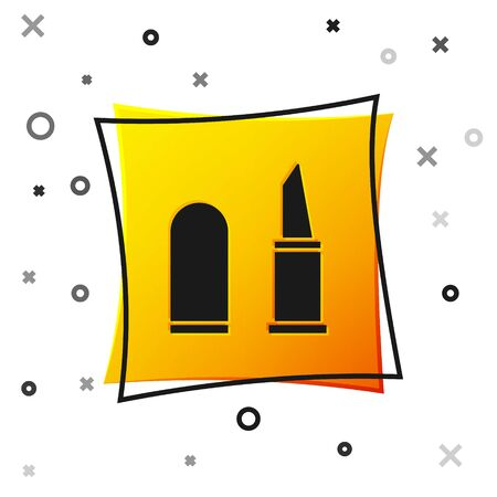 Black Lipstick icon isolated on white background. Yellow square button. Vector Illustration  イラスト・ベクター素材