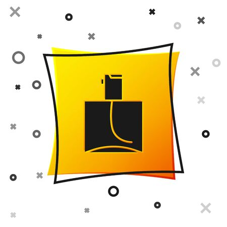 Black Perfume icon isolated on white background. Yellow square button. Vector Illustration
